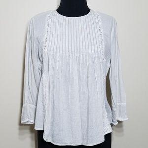 Zara, Cream Stripe Fray Sleeve Peasant Top, Small
